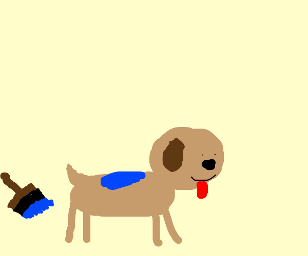 Dog has blue paint spilled on it