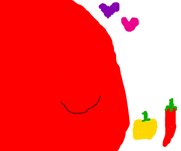 big red loves peppers