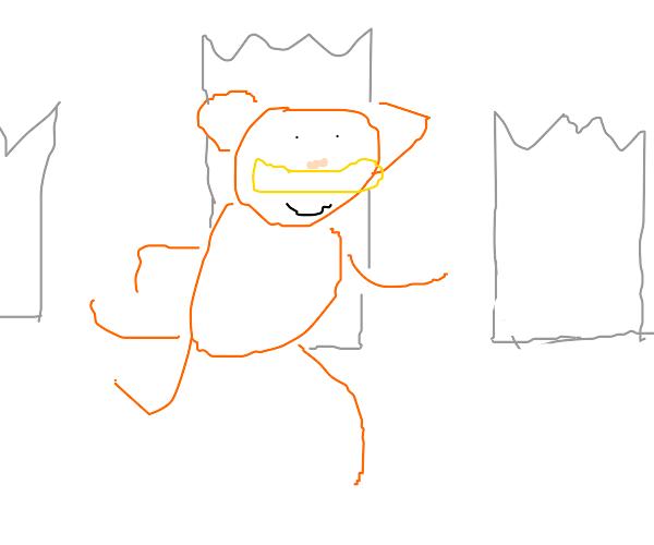 Garfield walks through remains of city