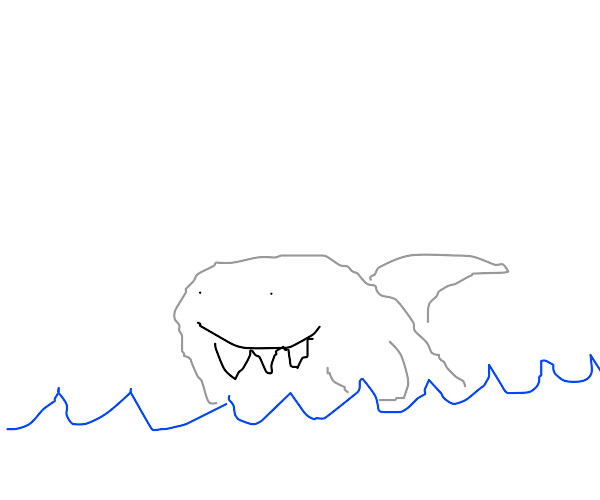 A happy shark in the water
