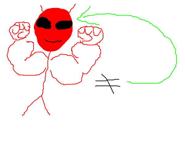 Buff red alien isn't even there