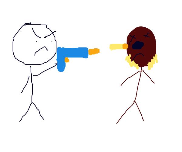 wookie getting shot by blaster