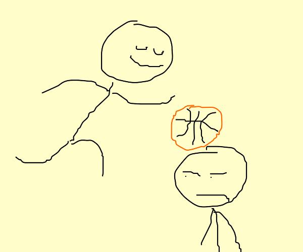 Man dunks a basketball on someone's head