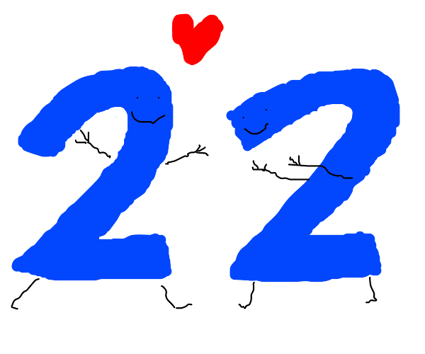 Two plus two = love :1