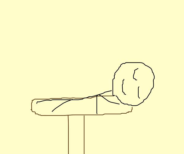 Guy sleeping on table