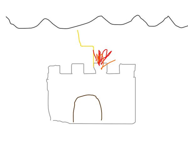 extreme lightning storm burns down castle