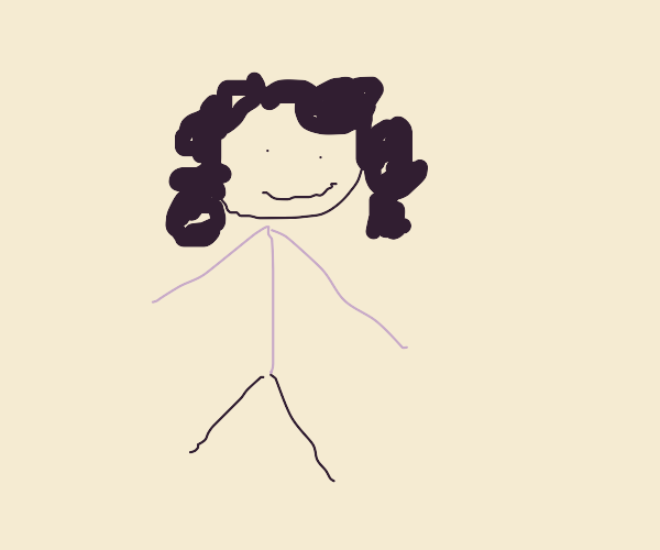 Curly-haired person in pink jacket