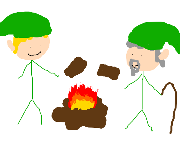 link and old-man link start a campfire