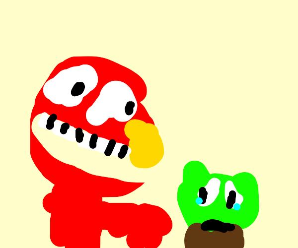 Elmo terrorising baby Yoda