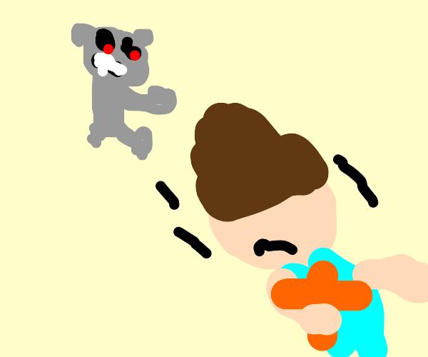 Robot bear goes to kill man