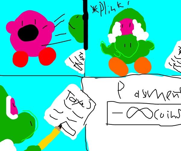 Kirby disguised as Yoshi commits tax fraud