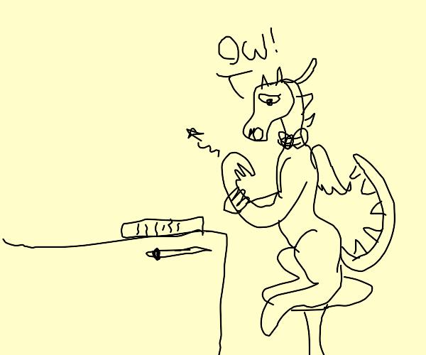 Dragon hurts wrist doing paperwork