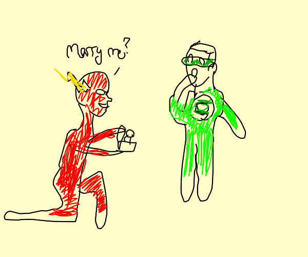 Flash and Green Lantern are gay together.