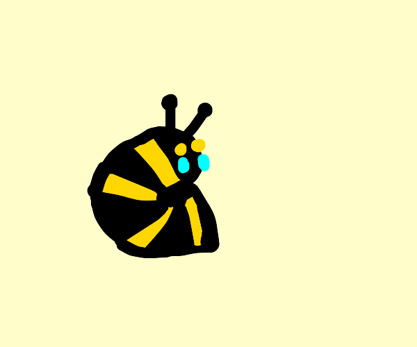 sad bee with no wings