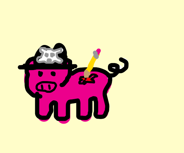 Pirate pig got stab by a pencil