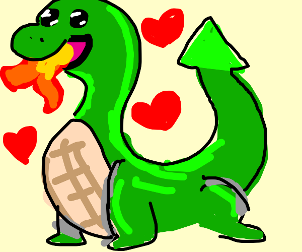 Fire-breathing dragon is pleased with you