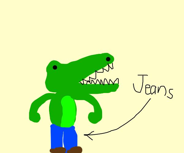 alligator wearing jeans