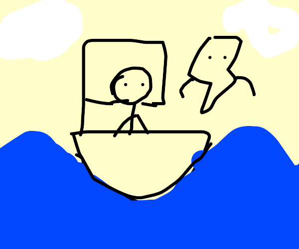 Person sailing with a thunderbolt.
