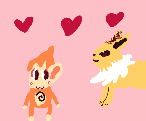 jolteon and chimchar in love