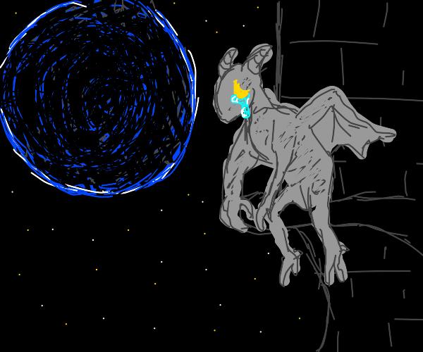 Night sky, huge new moon, crying gargoyle