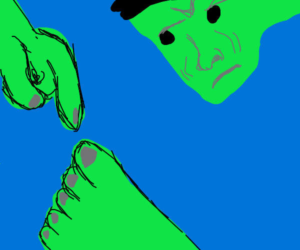 Hulk pointing to his toes