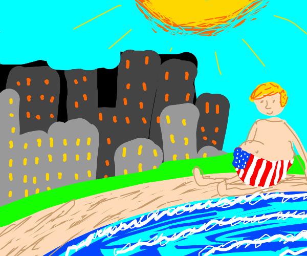 Typical American in a beach near a big city