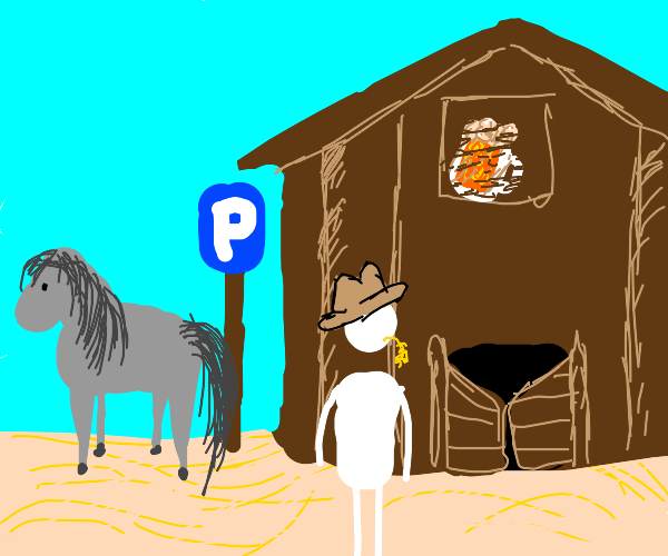 cowboy parked his horse outside a bar