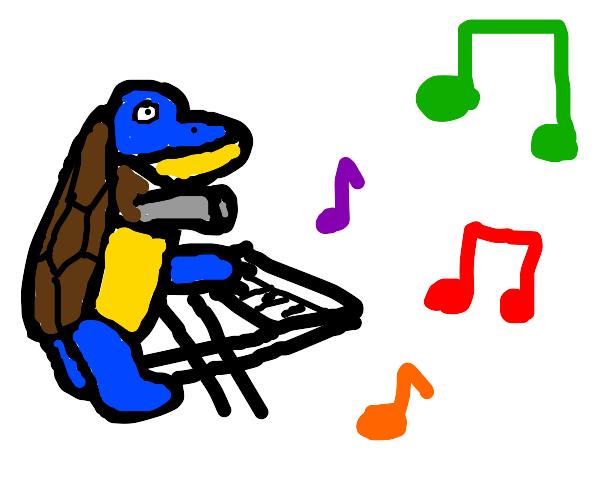 blastoise playing the keyboard (instrument)