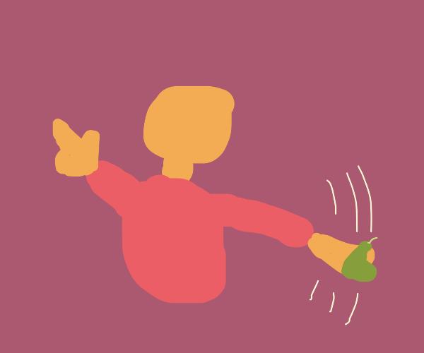 man throwing pear