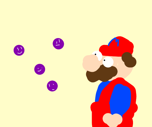 mario looks at four purple dots with faces