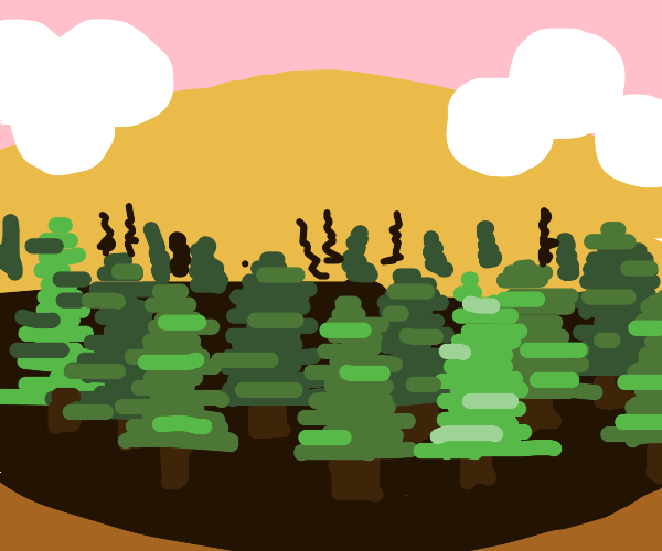 A beautiful abstract Painting of a forest