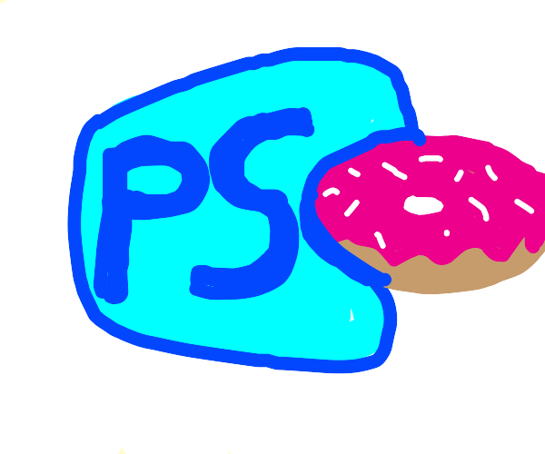 PhotoShop App consumed Pink jimmied donut