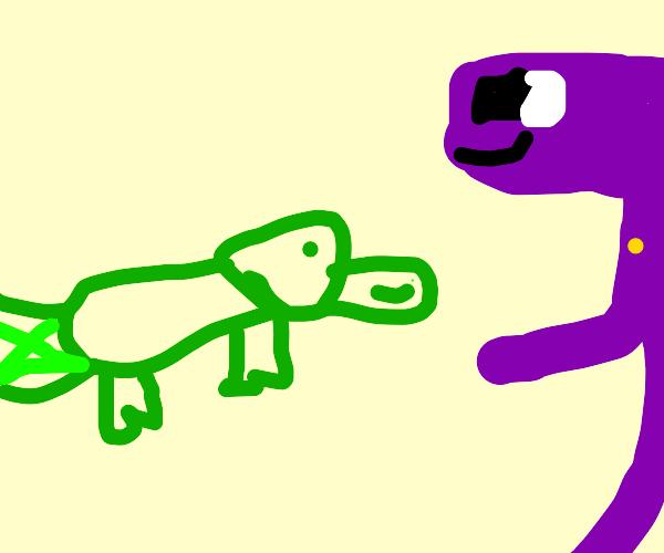 purple guy smile at green platypus