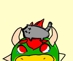 bowser with a dead cat on his head