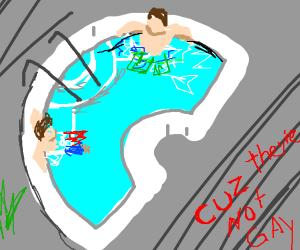 2 guys chillin in a hot tub 5 feet apart