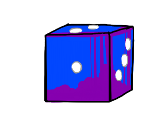 Blue dice with 6 sides.