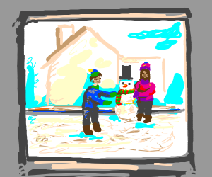 kids with a snowman outside