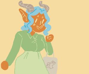 Orange demon lady goes shopping