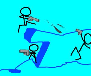 Stick men fight with guns