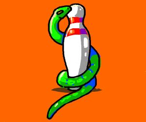Snake protecting bowling pin