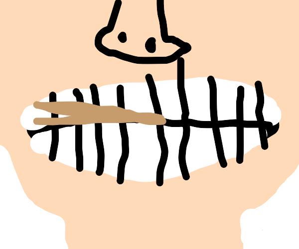 tooth holding chopsticks