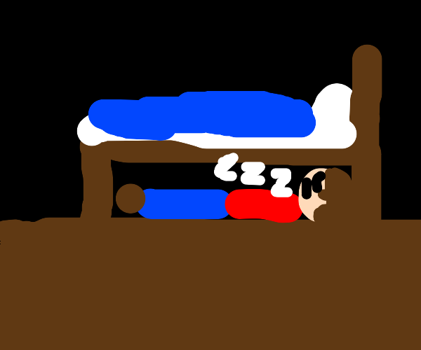 A person sleeping under the bed
