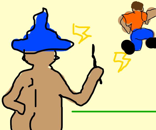 Evil Naked Wizard Terrorizing People