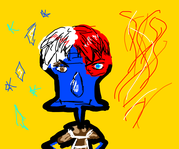 squidward mixed with Todoroki (from BNHA)