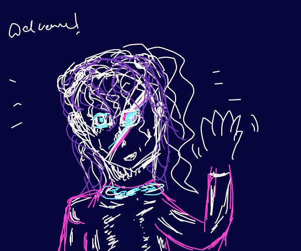 Girl wearing eyepatch greeting you