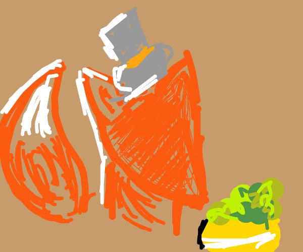 fancy fox eating salad