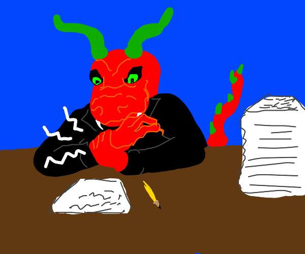An old time dragon in a suit with a writer's