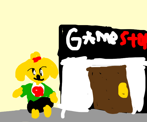 isabelle (animal crossing) goes to GameStop
