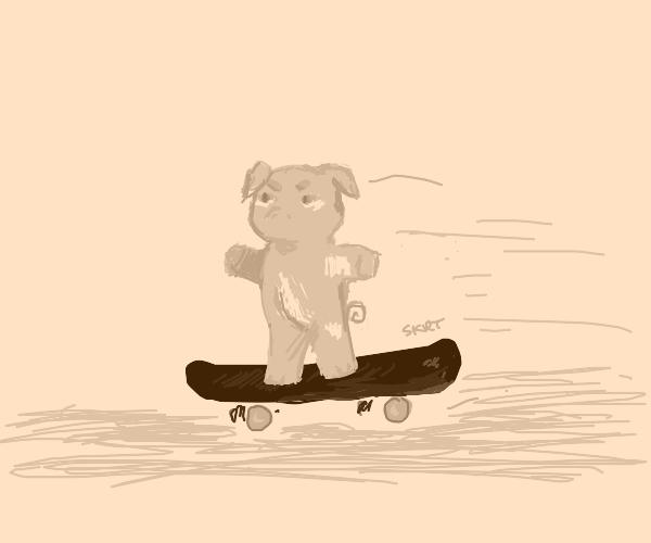 cool pig riding skateboard