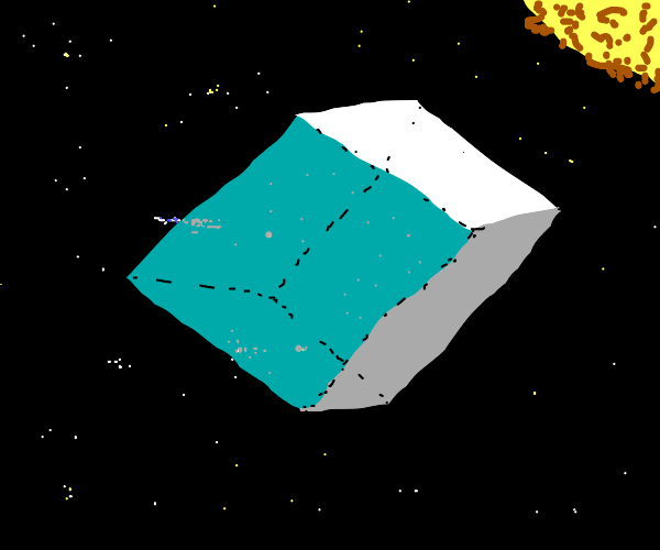 cubic glass room in space